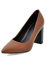 cheap -Women's Heels Wedge Heel Pointed Toe Classic Daily Solid Colored PU Black / Brown / Beige