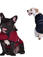 cheap -Dog Coat Solid Colored Stylish Cute Casual / Daily Outdoor Winter Dog Clothes Warm Red Blue Brown Costume Fabric S M L XL XXL