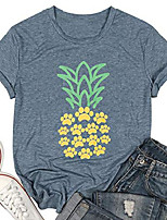 cheap -pineapple shirt women dog paw pineapple t-shirt casual short sleeve shirt funny graphic tee tops & #40;blue, small& #41;