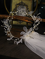 cheap -One-tier Flower Style / Floral Wedding Veil Shoulder Veils with Pendant / Solid Tulle