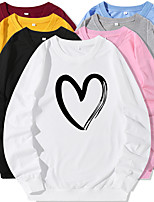 cheap -Women's Sweatshirt Cartoon Crew Neck Heart Sport Athleisure Pullover Long Sleeve Warm Soft Oversized Comfortable Everyday Use Causal Exercising General Use
