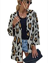 cheap -Women's Basic Knitted Leopard Cheetah Print Cardigan Acrylic Fibers Long Sleeve Loose Sweater Cardigans V Neck Fall Winter Beige