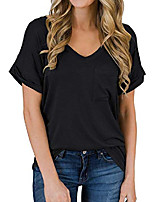 cheap -women& #39;s short sleeve crew neck t-shirt with pocket basic loose casual tee shirts tops