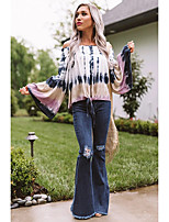 cheap -Women's Going out Blouse Color Gradient Long Sleeve Print Off Shoulder Tops Batwing Sleeve Loose Basic Beach Basic Top Rainbow