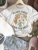 cheap -Women's T-shirt Floral Graphic Prints Letter Print Round Neck Tops 100% Cotton Basic Basic Top Beige