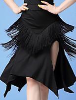 cheap -Latin Dance Skirts Tassel Split Women's Training Performance Natural Tulle Milk Fiber