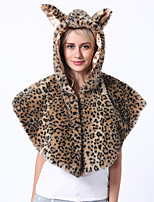 cheap -Adults' Cloak Kigurumi Pajamas Leopard Onesie Pajamas Flannelette Brown Cosplay For Men and Women Animal Sleepwear Cartoon Festival / Holiday Costumes