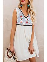 cheap -Women's Shift Dress Knee Length Dress - Sleeveless Print Ruffle Print Summer V Neck Casual Loose 2020 White S M L XL XXL 3XL