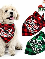 cheap -dog christmas bandana, buffalo plaid pet bandana reversible triangle merry christmas bibs accessories for dogs cats pets (merry christmas (red + green))