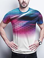 cheap -Men's Daily Plus Size T-shirt Graphic Print Short Sleeve Tops Basic Round Neck Purple / Sports