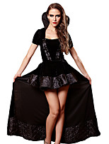 cheap -Vampire Dress Cosplay Costume Outfits Adults' Women's Cosplay Halloween Halloween Festival / Holiday Satin Velvet Black Women's Easy Carnival Costumes / Skirts / Skirts
