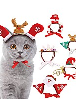 cheap -Dog Cat Ornaments Hats, Caps & Bandanas Hair Accessories Cartoon Tiaras & Crowns Christmas Cosplay Dog Clothes Red / Green White Red Costume Fabric S M