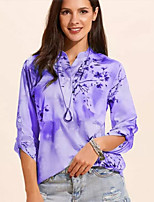 cheap -Women's Shirt Floral Long Sleeve Standing Collar Tops Loose Basic Basic Top Blue Purple