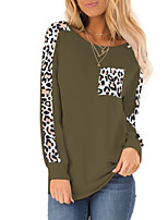 cheap -Women's Blouse Leopard Long Sleeve Patchwork Print Round Neck Tops Basic Basic Top Black Blue Army Green