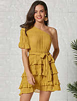 cheap -Women's A-Line Dress Short Mini Dress - Short Sleeve Solid Color Layered Ruffle Summer One Shoulder Strapless Casual Going out Slim 2020 Yellow S M L XL