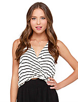 cheap -Women's Tank Top Striped Backless Layered V Neck Tops Slim Basic Basic Top White