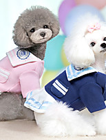 cheap -Dog Dress Sailor Fashion Cute Christmas Party Winter Dog Clothes Warm Blue Pink Costume Cotton XS S M L XL