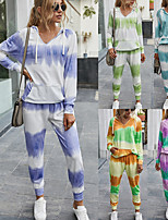 cheap -Women's Hoodie Sweatshirt Set Sweatpants Tie Dye V Neck Color Block Sport Athleisure Sweatshirt and Pants Long Sleeve Warm Soft Oversized Comfortable Everyday Use Casual Exercising General Use