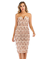 cheap -Women's A-Line Dress Short Mini Dress - Sleeveless Solid Color Backless Sequins Tassel Fringe Summer Strapless V Neck Sexy Party Club 2020 Gold S M L XL XXL