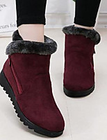 cheap -Women's Boots Snow Boots Flat Heel Round Toe Casual Daily Solid Colored Nubuck Booties / Ankle Boots Wine / Black / Brown