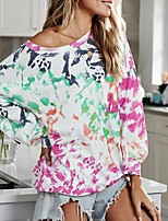 cheap -Women's Daily Pullover Sweatshirt Tie Dye Basic Hoodies Sweatshirts  Fuchsia Orange Rainbow