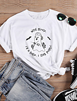 cheap -Women's Halloween T-shirt Graphic Prints Letter Print Round Neck Tops Slim 100% Cotton Basic Halloween Basic Top White Black Purple