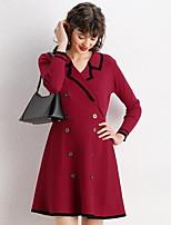 cheap -Women's A-Line Dress Short Mini Dress - 3/4 Length Sleeve Color Block Summer V Neck Casual Elegant Daily 2020 Black Red Beige One-Size