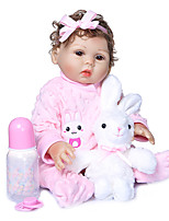 cheap -NPKCOLLECTION 20 inch Reborn Doll Baby Girl Gift Hand Made Artificial Implantation Brown Eyes Full Body Silicone Silicone Silica Gel with Clothes and Accessories for Girls' Birthday and Festival Gifts