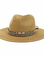cheap -wide brim straw sun hat panama fedora beach hat - khaki
