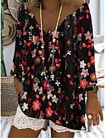 cheap -Women's Blouse Shirt Floral Flower Print V Neck Tops Basic Basic Top White Black