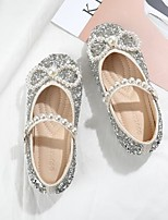 cheap -Girls' Flats Flower Girl Shoes PU Glitter Crystal Sequined Jeweled Little Kids(4-7ys) / Big Kids(7years +) Walking Shoes Rhinestone / Bowknot Almond / Pink Spring / Fall / Party & Evening