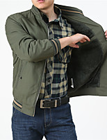 cheap -Men's Hiking Jacket Hiking Windbreaker Hiking Fleece Jacket Outdoor Solid Color Thermal Warm Windproof Breathable Comfortable Jacket Cotton Hunting Climbing Camping / Hiking / Caving Army Green