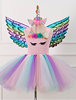 cheap -Unicorn Dress Party Costume Girls' Movie Cosplay Tutus Braided / Cord Vacation Dress Golden / Pink / Green Dress Wings Headwear Christmas Halloween Carnival Polyester / Cotton Polyester