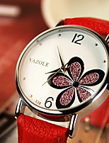 cheap -YAZOLE Women's Quartz Watches Quartz Stylish Floral Style Casual Water Resistant / Waterproof PU Leather Black / White / Red Analog - White / Black White+Red White+Pink