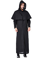 cheap -Wizard Cosplay Costume Outfits Adults' Men's Cosplay Halloween Halloween Festival / Holiday Polyester Black Men's Easy Carnival Costumes / Leotard / Onesie / Leotard / Onesie