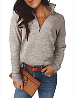 cheap -Women's Daily Pullover Sweatshirt Solid Color Plain Casual Hoodies Sweatshirts  Beige Gray