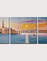 cheap -Mintura Original Hand Painted Modern Abstract City Landscape Oil Paintings on Canvas Wall Picture Pop Art Posters For Home Decoration Ready To Hang With Stretched Frame or Rolled Without Frame