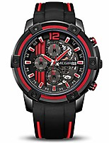 cheap -men's analogue sport quartz wrist watches with soft red/black silicone strap chronograph luminous auto calendar waterproof function (2097 red)