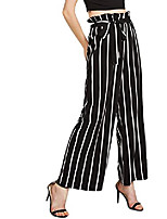 cheap -women's frilled waist striped print palazzo pants black