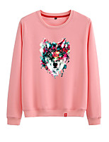 cheap -Women's Sweatshirt Sweatshirt Womens Pullover Sweatshirts Black White Pink Cartoon Crew Neck Animal Patterned Cartoon Cute Sport Athleisure Pullover Long Sleeve Warm Soft Comfortable Everyday Use