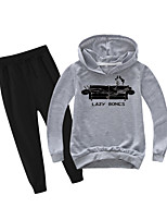 cheap -Kids Boys' Active Basic Holiday Daily Wear Athleisure Print Patchwork Print Long Sleeve Regular Regular Clothing Set Gray