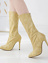 cheap -Women's Boots Stiletto Heel Pointed Toe Classic Daily Solid Colored Leather Mid-Calf Boots Gold