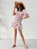 cheap -Women's A-Line Dress Short Mini Dress - Short Sleeve Floral Ruffle Patchwork Print Summer V Neck Casual Elegant Slim 2020 Orange S M L XL XXL