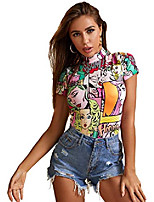 cheap -women's casual mock neck short sleeve fitted graphic t-shirt tee tops multicolored-5 medium