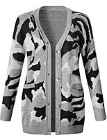 cheap -Women's Sweater Coat Long Camo / Camouflage Daily Basic Army Green Gray S M L