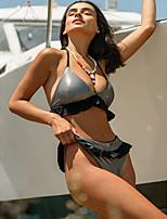 cheap -Women's Bikini Swimwear Swimsuit Bathing Suits - Solid Colored Black Yellow S M L