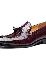 cheap -Men's Fall Business Daily Loafers & Slip-Ons PU Wear Proof Dark Red / Black / Yellow