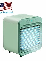 cheap -[us delivery] rechargeable water-cooled air conditioner eco-friendly,portable ultra-quiet electric fan, cooling cooler spray humidifier with usb dual battery led lights,for home/office/outdoor (green)