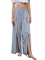 cheap -Women's Basic Daily Wide Leg Pants Solid Colored Split Breathable Gray S M L