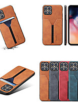 cheap -Case For iPhone 12 Card Holder  Shockproof Back Cover Solid Colored PU Leather TPU